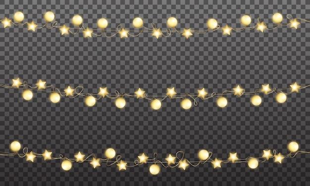 Świąteczna złota girlanda, błyszcząca złota dekoracja na święta bożego narodzenia i nowy rok