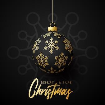 Świąteczna złota piłka i plakat niebezpieczeństwa koronawirusa kwarantanny. koronawirus covid-19 i święta lub nowy rok anulowane koncepcja. ilustracja wektorowa