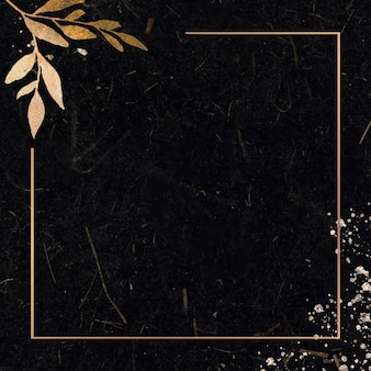 Świąteczna złota ramka prostokątna na czarnym tle wektora