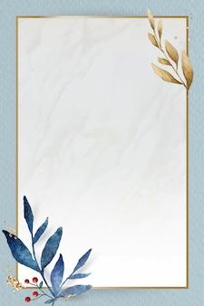 Świąteczna złota ramka prostokątna na niebieskim tle papieru wektor