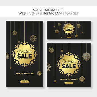 Świąteczne banery sprzedażowe dla stron internetowych, postów w mediach społecznościowych i historii na instagramie