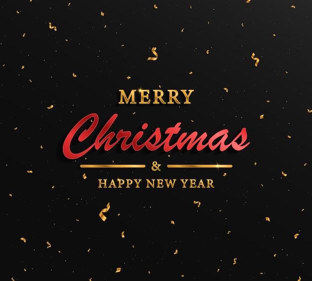 Świąteczne boże narodzenie złote tło ze złotym konfetti