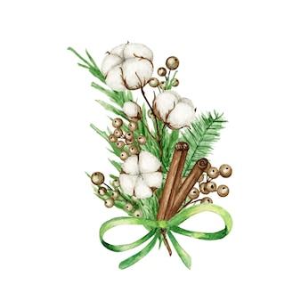 Świąteczne bukiety boho z gałązkami sosny, laska cynamonu, kwiat bawełny.