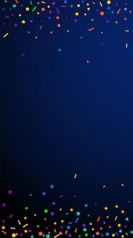 Świąteczne cenne konfetti. gwiazdy uroczystości. świąteczny konfetti na ciemnym niebieskim tle. pobieram świąteczny szablon nakładki. pionowe tło wektor.