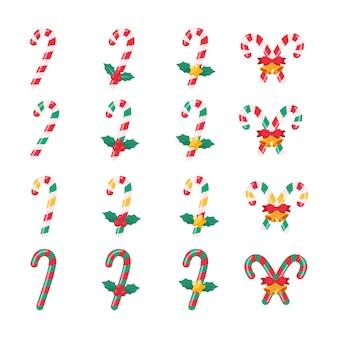 Świąteczne cukierki. czerwone i zielone batony dla dzieci na obchody bożego narodzenia.