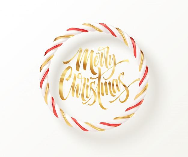 Świąteczne cukierki czerwone, złote i białe okrągłe ramki w paski ze złotym napisem wesołych świąt.