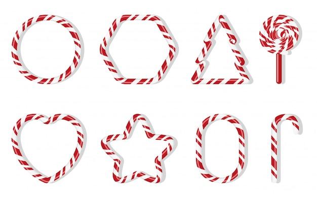Świąteczne cukierki z różnym kształtem spiralnym wzorem. czerwono-biała uczta zimowa. słodka cukrowa kreskówka noel cukierku trzcina, round, jedlinowy drzewo, gwiazda, serce, lizaki odizolowywająca ilustracja