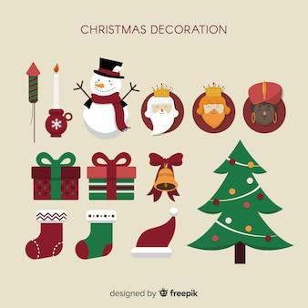 Świąteczne dekoracje w stylu płaski
