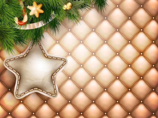 Świąteczne dekoracje z gałęzi jodłowych na złoto.