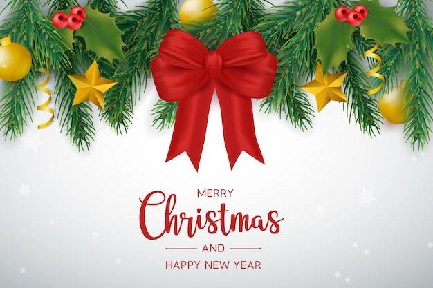 Świąteczne dekoracje z kokardkami i kulkami