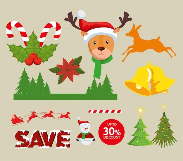 Świąteczne dekoracje zestaw ikon