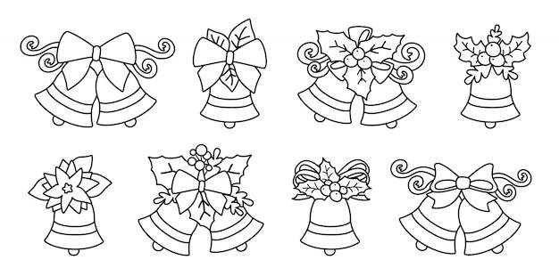 Świąteczne dzwonki liniowe z kokardkami i ostrokrzewem. wakacyjna kolekcja kompozycji metalowych kampanowych czarnej linii. elementy projektu płaskie kreskówka. kompozycja noworoczna i świąteczna. ilustracja na białym tle