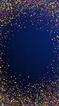 Świąteczne egzotyczne konfetti. gwiazdy uroczystości. radosne konfetti na ciemnym niebieskim tle. pobieram świąteczny szablon nakładki. pionowe tło wektor.