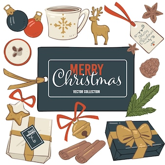 Świąteczne elementy symboliczne, prezenty z kokardą, ozdobne dzwoneczki i życzenia na papierze. filiżanka herbaty lub kawy, liście jemioły, pierniki i bombka do wystroju. wektor w mieszkaniu