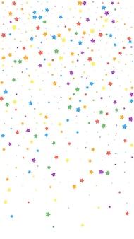 Świąteczne energetyczne konfetti. gwiazdy uroczystości. radosne gwiazdy na białym tle. idealny świąteczny szablon nakładki. pionowe tło wektor.