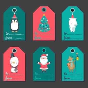 Świąteczne etykiety na prezenty.