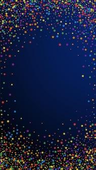 Świąteczne fantazyjne konfetti. gwiazdy uroczystości. tęczowe jasne gwiazdy na ciemnym niebieskim tle. pobieram świąteczny szablon nakładki. pionowe tło wektor.