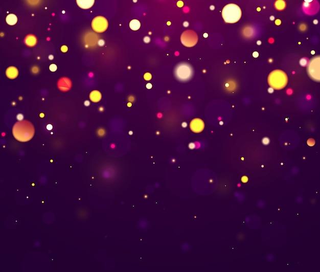 Świąteczne fioletowe, złote tło kolorowe światła bokeh.