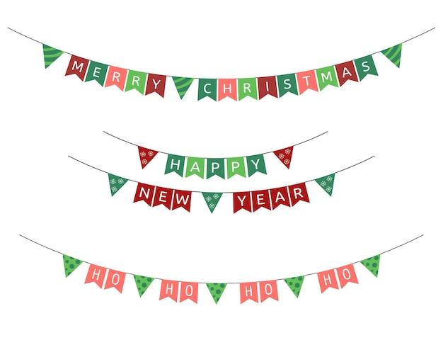 Świąteczne flagi girlandy wektor zestaw noworocznych trójkątnych świątecznych trąbek kolekcja dekoracji