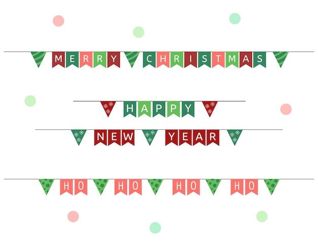 Świąteczne flagi girlandy wektor zestaw świątecznych i świątecznych trznadel dekoracje