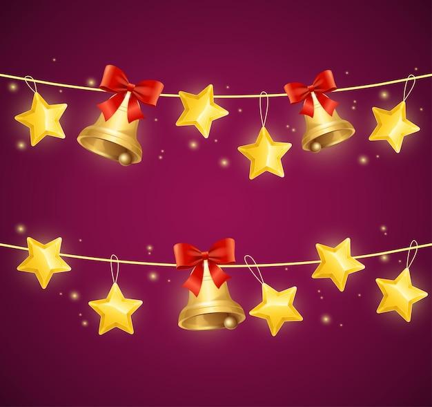 Świąteczne girlandy z gwiazdą i złotymi dzwoneczkami.