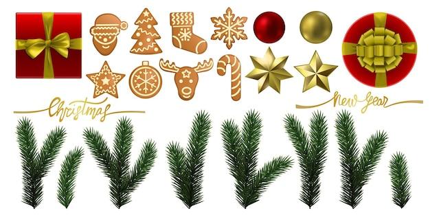 Świąteczne i noworoczne przedmioty oraz zestaw elementów z prezentami i zabawkami z gałęzi jodły