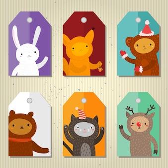 Świąteczne i noworoczne tagi prezentowe ze zwierzętami z kreskówek płaska konstrukcja, ilustracji wektorowych
