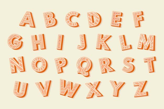 Świąteczne ilustracje alfabetu piernika