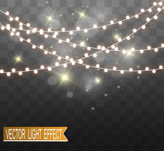 Świąteczne jasne, piękne światła, elementy projektu. świecące światła do projektowania kart okolicznościowych xmas. girlandy, lekkie ozdoby świąteczne.