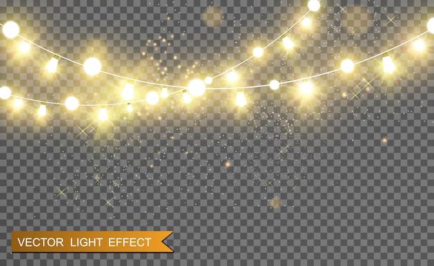 Świąteczne jasne, piękne światła, elementy. świecące światła do projektowania kart okolicznościowych xmas. girlandy, lekkie ozdoby świąteczne.