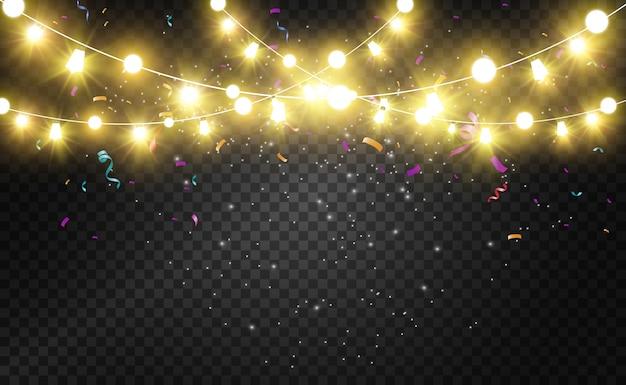 Świąteczne jasne, piękne światła, s. świecące światła do projektowania kart okolicznościowych xmas. girlandy, lekkie ozdoby świąteczne.