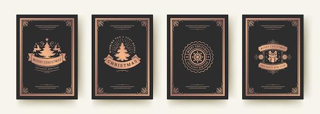 Świąteczne kartki z życzeniami vintage typograficzne, ozdobne symbole ozdób z życzeniami ferii zimowych, ornamentami kwiatowymi i ramkami.
