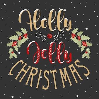 Świąteczne karty upominkowe holly jolly z napisem