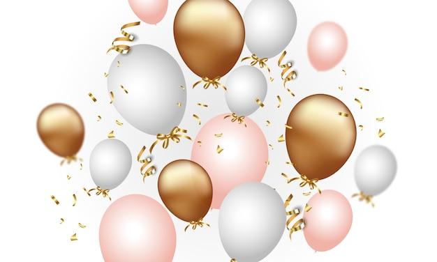 Świąteczne konfetti i balony na przezroczystym tle