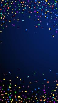 Świąteczne kreatywne konfetti. gwiazdy uroczystości. świąteczny konfetti na ciemnym niebieskim tle. atrakcyjny świąteczny szablon nakładki. pionowe tło wektor.