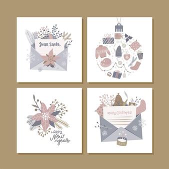 Świąteczne kwadratowe kartki z życzeniami z uroczą ilustracją hygge i życzeniami świątecznymi. ręcznie rysowane szablony kart do druku. projektowanie etykiet sezonowych.