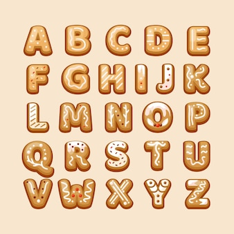 Świąteczne litery alfabetu z piernika