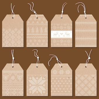 Świąteczne metki lub etykiety w stylu skandynawskim