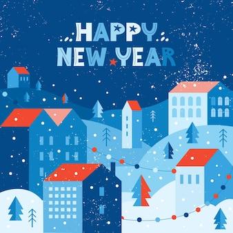 Świąteczne miasto śniegu w zimie ozdobione girlandami. krajobraz miejski w geometrycznym minimalistycznym stylu płaski. domy na wzgórzu wśród zasp i drzew. życzenia szczęśliwego nowego roku