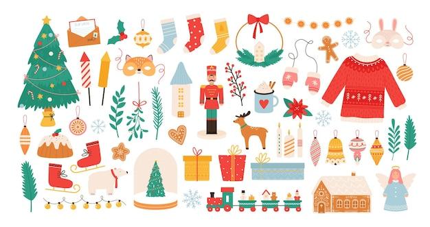 Świąteczne naklejki. ozdoby na ferie zimowe, choinka, pudełka na prezenty, bombki, maski, świece i piernikowy ludzik. nowy rok płaski wektor zestaw. ilustracja projekt piernika i prezentu, dekoracja świąteczna