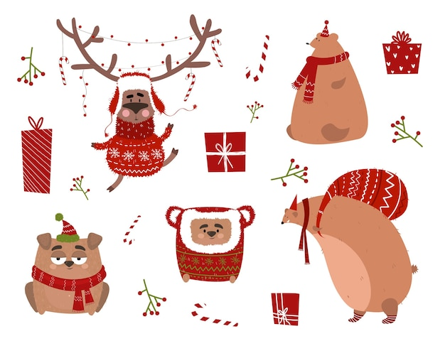 Świąteczne naklejki z jeleniem w garniturze, psem, niedźwiedziem w szaliku. kartka świąteczna ze zwierzętami w stylu kreskówki.