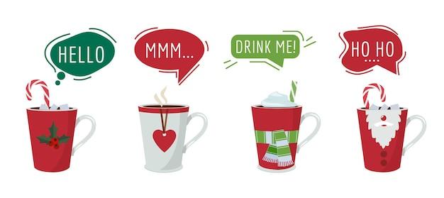 Świąteczne napoje. gorąca zimowa czekolada kakaowa z dymkami, świąteczne filiżanki do kawy wektor naklejki. ilustracja napój czekoladowy słodki, herbata i kakao