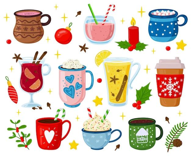 Świąteczne napoje. wakacje słodkie napoje, koktajle, poncz, kawa, gorące kakao z piankami i bitą śmietaną wektor zestaw ilustracji. świąteczne drinki. zimowy kubek na słodkie napoje, wakacyjna czekolada