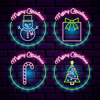 Świąteczne neonowe ikony. ilustracja