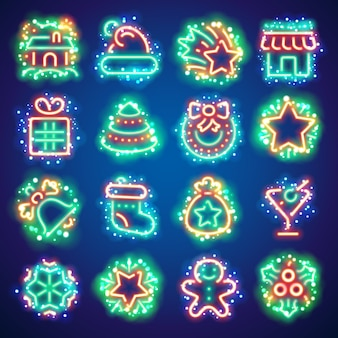 Świąteczne neonowe ikony z magicznymi błyskami