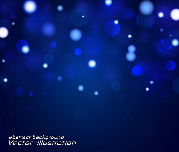 Świąteczne niebieskie tło z kolorowymi światłami. niewyraźne jasne streszczenie bokeh. pojęcie. kartka z życzeniami. magiczne wakacje plakat, baner. noc jasna biel błyszczy światłem.