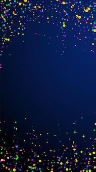 Świąteczne niesamowite konfetti. gwiazdy uroczystości. jasne konfetti na ciemnym niebieskim tle. atrakcyjny świąteczny szablon nakładki. pionowe tło wektor.