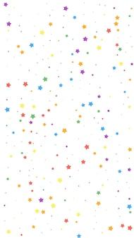Świąteczne niezrównane konfetti. gwiazdy uroczystości. radosne gwiazdy na białym tle. nieskazitelny świąteczny szablon nakładki. pionowe tło wektor.