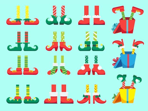 Świąteczne nogi elfa. buty dla stóp elfów, noga krasnala pomocników świętego mikołaja w zestawie spodni