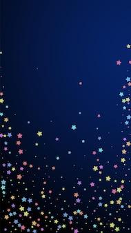Świąteczne olśniewające konfetti. gwiazdy uroczystości. kolorowe gwiazdki losowo na ciemnoniebieskim tle. uroczy świąteczny szablon nakładki. pionowe tło wektor.